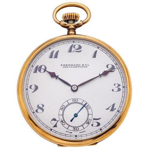 EBERHARD & CO. CHAUX-DEFONDS POCKET WATCH. 18K YELLOW GOLD AND SILVER