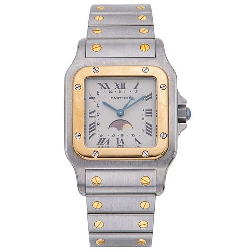 CARTIER SANTOS GALBÉE MOONPHASE. STEEL AND 18K YELLOW GOLD. REF. 02261