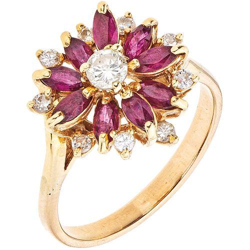 RUBIES AND DIAMONDS RING. 14K YELLOW GOLD