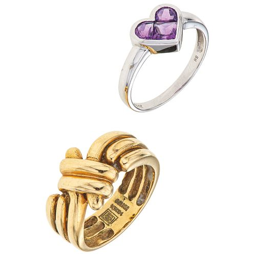 TWO RINGS WITH AMETHYSTS. 14K YELLOW AND WHITE GOLD