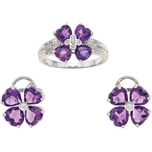 RING AND EARRINGS SET WITH AMETHYSTS AND DIAMONDS. 14K WHITE GOLD