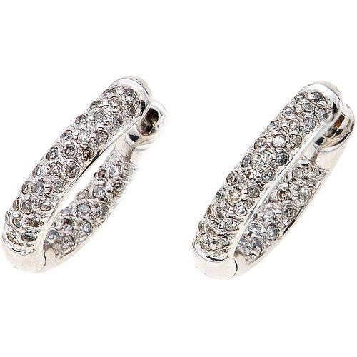 DIAMONDS HOOP ROUND EARRINGS . 14K WHITE GOLD