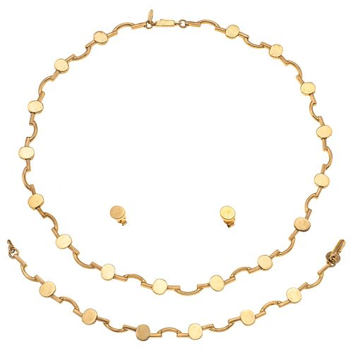 CHOKER, WRISTBAND AND EARRINGS SET. 14K YELLOW GOLD