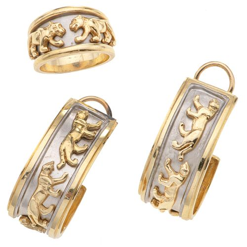 RING AND EARRINGS SET. 14K AND 10K YELLOW GOLD