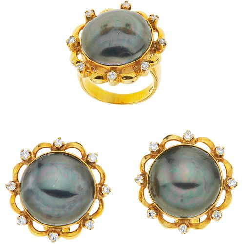 RING AND EARRINGS SET WITH HALF PEARLS AND DIAMONDS. 14K YELLOW GOLD