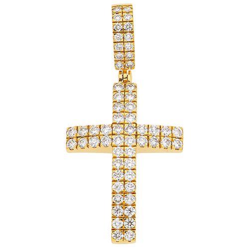 DIAMONDS CROSS. 14K YELLOW GOLD
