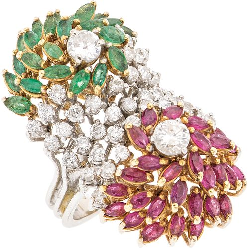 DIAMONDS, EMERALDS AND RUBIES RING. 14K WHITE GOLD