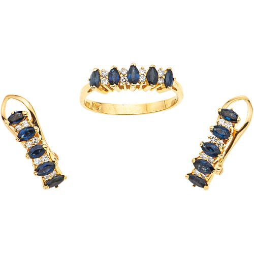 RING AND EARRINGS SET WITH SAPPHIRES AND DIAMONDS. 14K YELLOW GOLD