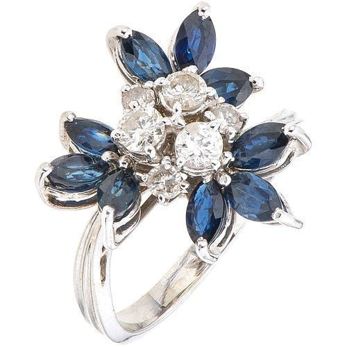 SAPPHIRES AND DIAMONDS RING. 18K WHITE GOLD