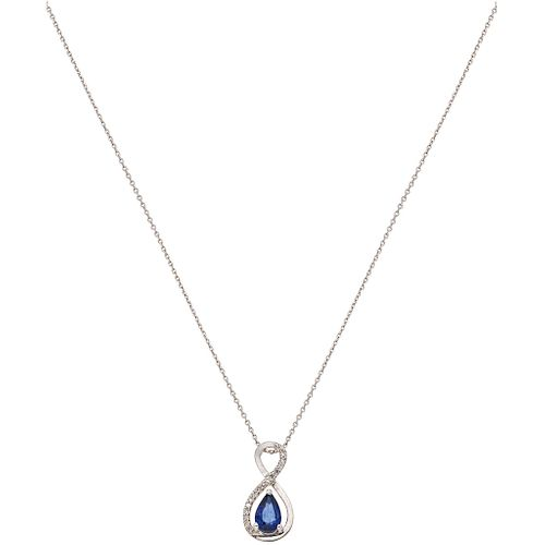 CHOKER AND PENDANT WITH SAPPHIRE AND DIAMONDS. 14K WHITE GOLD