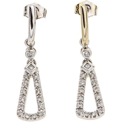 DIAMONDS EARRINGS. 14K WHITE GOLD