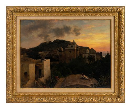 Oswald Achenbach (German, 1827-1905) Mediterranean Landscape with Village and Monatery
