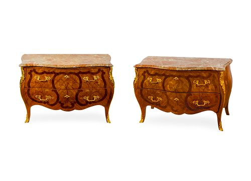 A Pair of Louis XV Style Gilt Bronze Mounted Tulipwood and Marquetry Commodes Height 32 x width 46 x depth 22 1/4 inches.