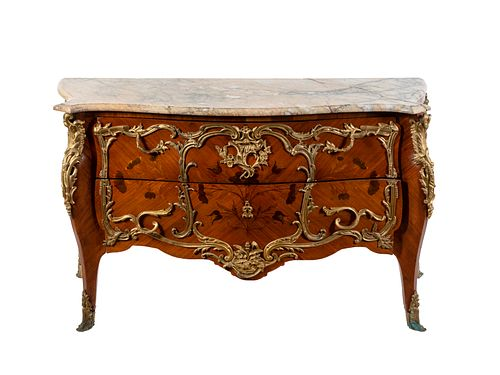A Louis XV Gilt Bronze Mounted Kingwood and Marquetry Commode Height 35 1/2 x width 60 1/2 x depth 20 3/4 inches.