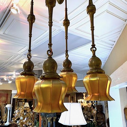Quezel Four Light Hanging Fixture and Pair Matching Sconces
