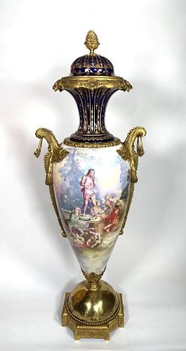 Large and Impressive Bronze Mounted Sevres Urn and Cover, late 19thc.