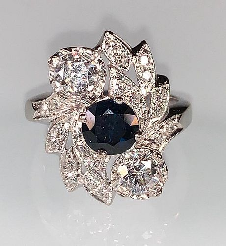 Ladies Fine Sapphire and Diamond Ring