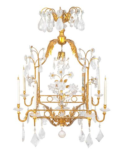 A Gilt Metal and Rock Crystal Six-Light Cage-form Chandelier Height 50 x 32 inches square.