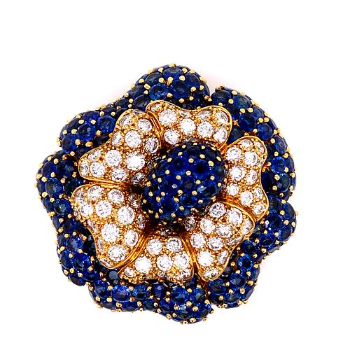 Sabbadini Sapphire Diamonds 18k Gold Brooch