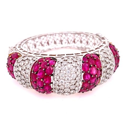 18K Gold Rubies Diamonds Bangle Bracelet