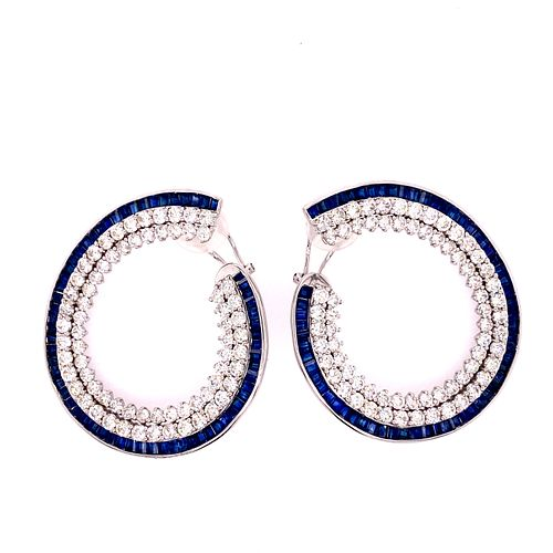 18k Gold Diamonds Sapphires Earrings