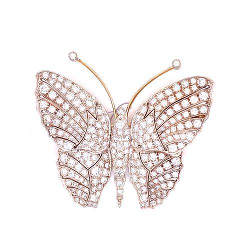 18k Gold Diamonds Butterfly Brooch