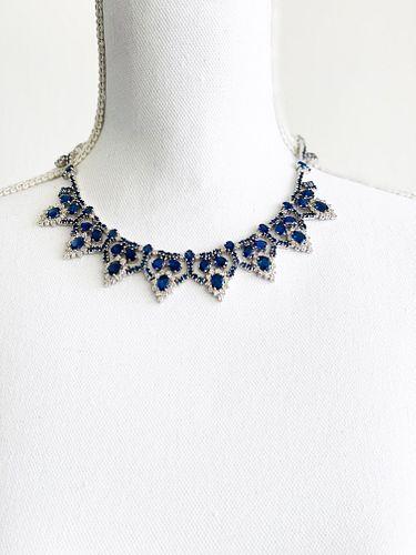 Sapphire Diamonds 14k Gold Necklace