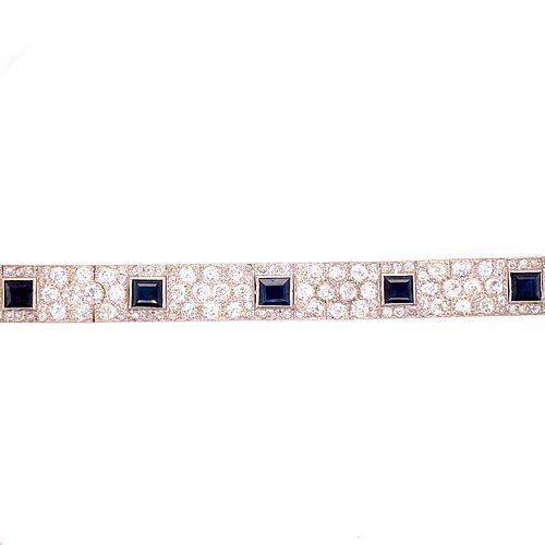 Art Deco Platinum,Gold Diamonds & Sapphire Bracelet
