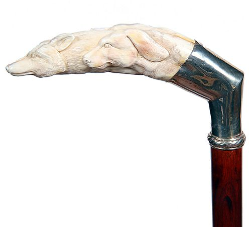 Pig Ivory Fox and Hound Hunting Cane