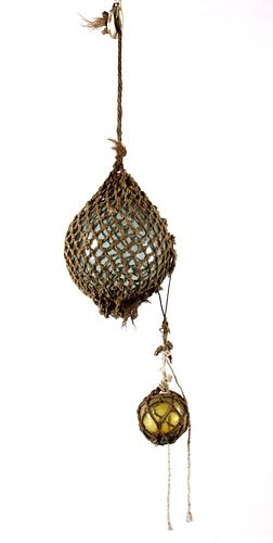 Two Antique Anese Fishing Floats By
