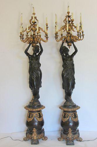 Impressive Pair Of Life Size Patinated Bronze.