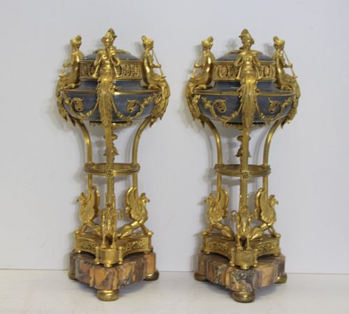 19th C Pair Of Gilt Bronze & Marble Brule-Parfums