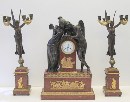 Finest Quality Rouge Marble And Bronze Clock