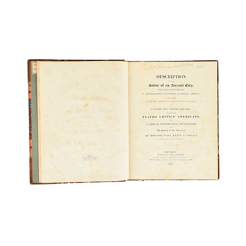 Río, Antonio del. Description of the Ruins of an Ancient City, Discovered Near Palenque... London, 1822. Rare work.
