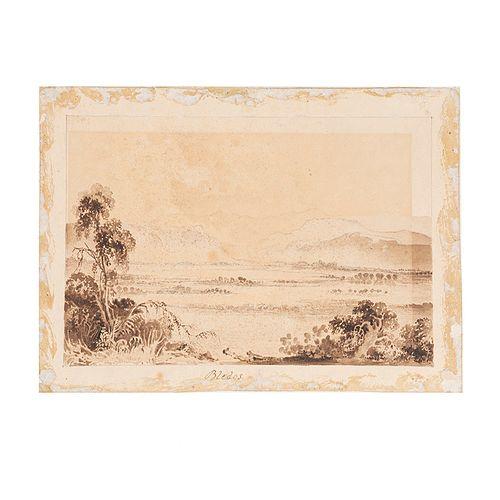 """Egerton, D. Thomas. Three original sketches """"San Miguel del Soldado May 1835"""", """"Vista Lejana de San Agustín"""", """"Bledos"""". Méx, ca.1835."""
