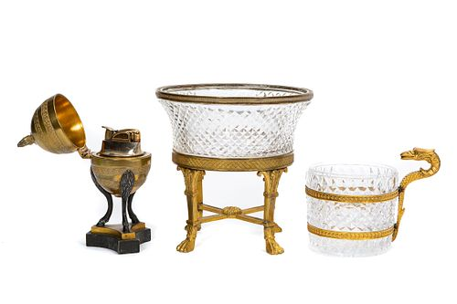 3 PC, FRENCH EMPIRE BRONZE & CUT GLASS ARTICLES