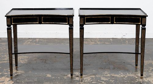 PAIR TWO DRAWER BLACK LACQUER SIDE TABLES, 20TH C.