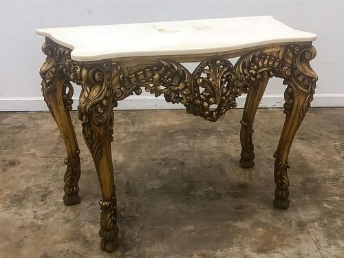 19TH C, CARVED & GILTWOOD MARBLE TOP CONSOLE TABLE