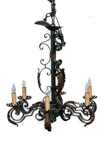E. 20TH C. FRENCH SIX LIGHT IRON CHANDELIER