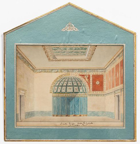 19th C. FRENCH INTERIOR STUDY, GOUACHE ON PAPER