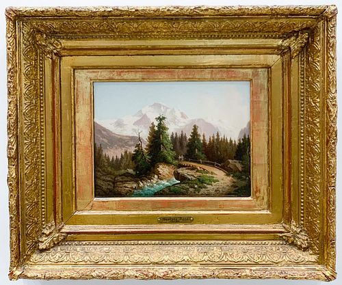 GUSTAVE DORE, MOUNTAIN LANDSCAPE, SIGNED OIL