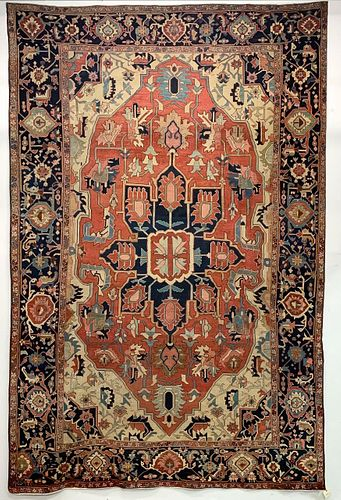 19TH C. HANDWOVEN ROOM-SIZED SERAPI CARPET