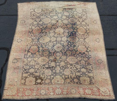 "LARGE HANDWOVEN OUSHAK CARPET, 18' 6"" X 13' 6"""