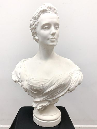 A. COLOMBIER, WHITE MARBLE FIGURAL BUST OF A LADY