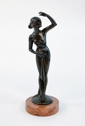 BRUNO ZACH, ART DECO NUDE BRONZE OF A LADY