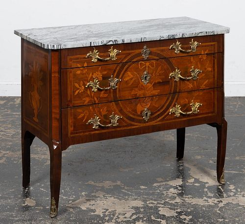 19TH C. ITALIAN ROCOCO STYLE MARBLE TOP COMMODE