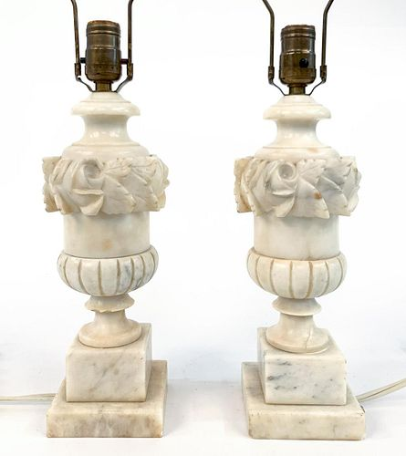 PAIR, ITALIAN CARVED URN FORM ALABASTER LAMPS