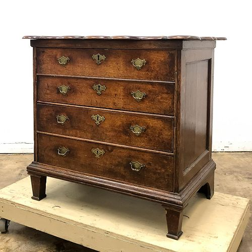 19TH C., ENGLISH STAINED OAK FOUR DRAWER CHEST