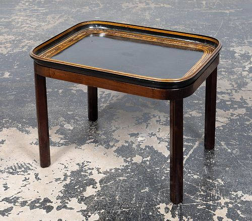 CLUB-FINE PAPIER MACHE TRAY TABLE, 1875