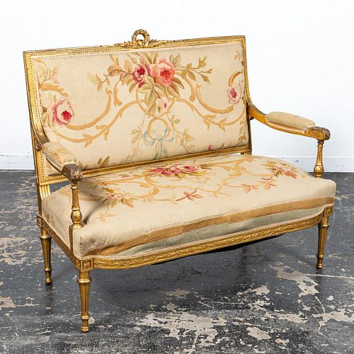 20TH C. S. KARPEN & BROS. GILTWOOD TAPESTRY SETTEE
